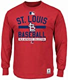 Majestic St. Louis Cardinals MLB Mens Long Sleeve Color Block Shirt Red Big & Tall Sizes
