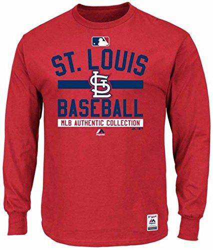 Majestic St. Louis Cardinals MLB Mens Long Sleeve Color Block Shirt Red Big & Tall Sizes (4XT) - Majestic Athletic Red Long Sleeve Shirt