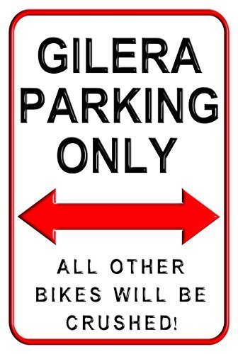 Aersing Gilera Parking Only Funny Parking Signs 20, 3 x 30, 5 cm Yard Decorativo segni per Esterni casa Metallo Motocicletta Comando Wall Sign 3x 30 5cm Yard Decorativo segni per Esterni casa Metallo Motocicletta Comando Wall Sign