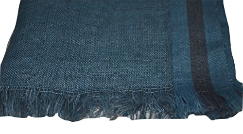 Hand Spun, Handwoven Shorty Weave Pure Linen Fabric Triple Stripe edge Scarf. X1425 by Exclusive Handcrafts (Image #3)