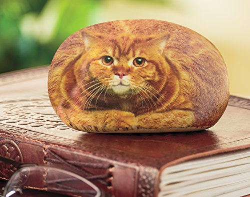 Rock Kitty (Desk Accessory - Office Desk Paperweight, Small Tabby Cat Rock Paper Weight)