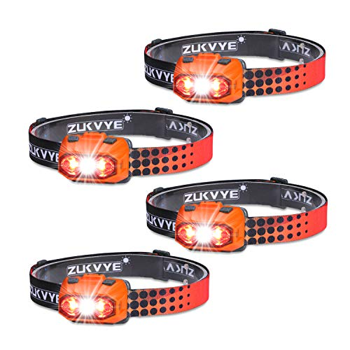 Zukvye LED Headlamp, Ultra Bright 230 Lumen White & Red LED Headlamps, Waterproof Head Light for Running, Camping, Reading & More - batteries included (Orange ) (Lumen Led 230)