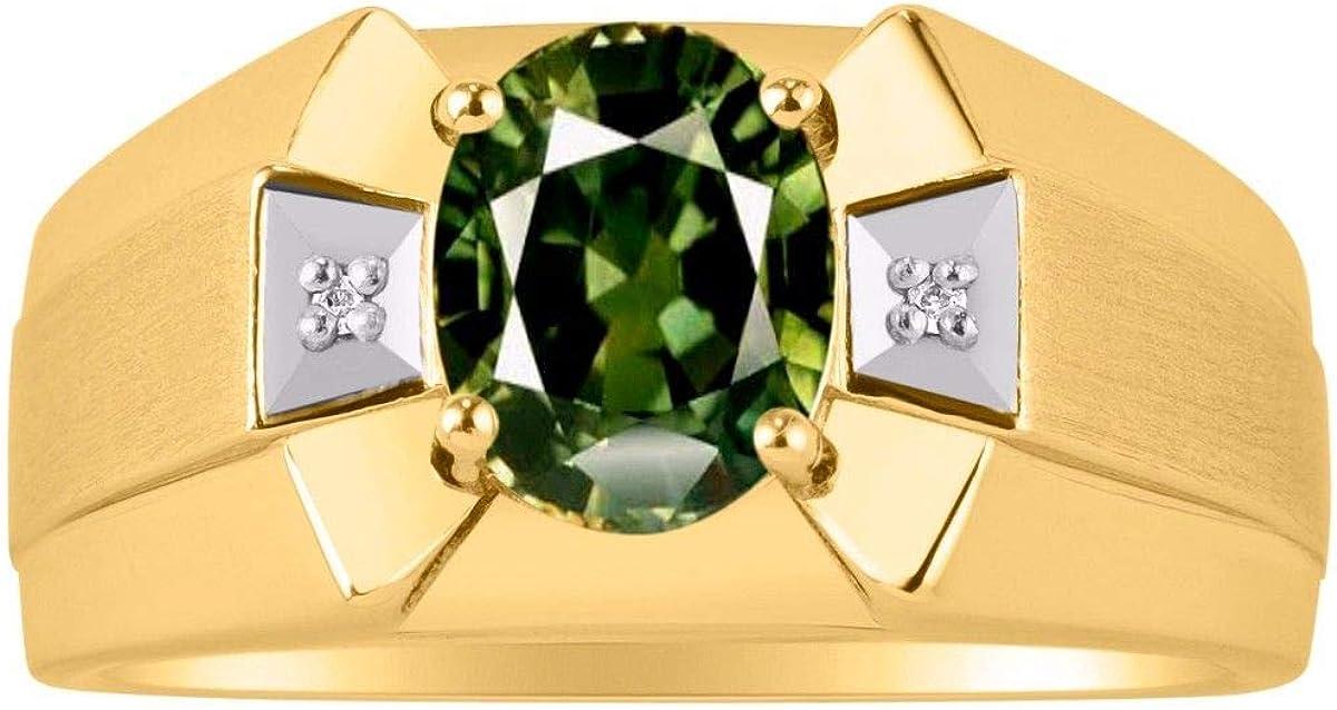 RYLOS - Anillo para hombre con piedra preciosa de forma ovalada y diamantes brillantes auténticos en oro amarillo de 14 K - 9 x 7 mm esmeralda, rubí, piedra de color zafiro