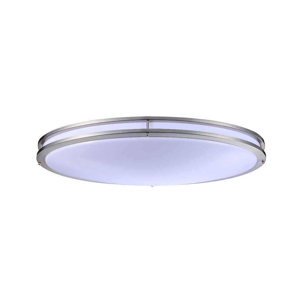 TriGlow T84039 32'' LED Double Ring Oval Flush Mount, 4000K Brushed Nickel Light Fixture, Dimmable, Cool White by TriGlow