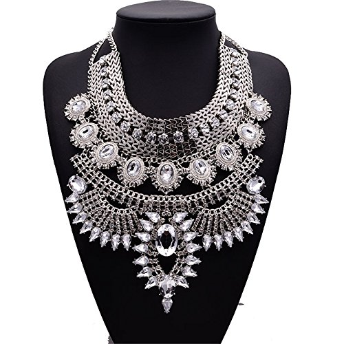 NABROJ Vintage Silver Crystal Bib Necklace, Flower Chunky Pendant Necklaces Collar Bridal Costume Jewelry 1 Pc-HL23 Silver (Silver Necklace Bib)
