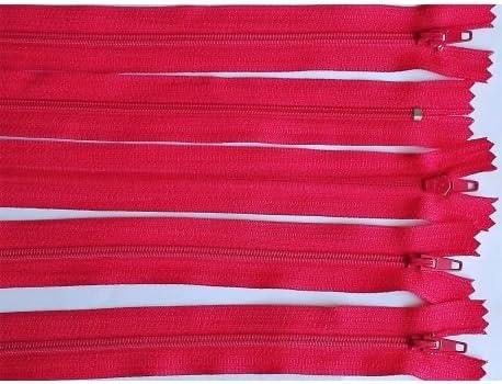 M /& C 5 Fermetures Eclair Fine POLYESTERE 30 cm Coloris Rouge Clair Pochette Coussin Jupe