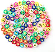 SAVITA 100Pcs Sun Flower Happy Smiley Face Beads 10mm Colorful Polymer Clay Beads Cute Sunflower Spacer Beads