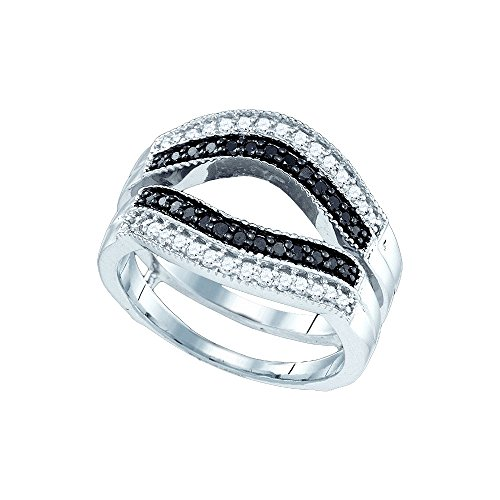 Jewels By Lux 10kt White Gold Womens Round Black Color Enhanced Diamond Ring Guard Wrap Solitaire Enhancer 1/2 Cttw Ring Size 5.5 (Black Enhanced Diamond Solitaire)