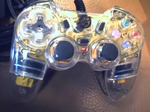 Pelican Chameleon Wired Playstation Video Game Console System Controller Model#pl-659 Rev. 059755 (Clear See Through Version) (For Playstation 2 and Playstation One Video Game Systems) (Ps2 Pel Chameleon Asstd.) (Rev Controllers)