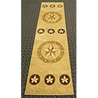 Texas Star Beige Runner Area Rug Skinz Design #78 (2ft.X7ft1in.)