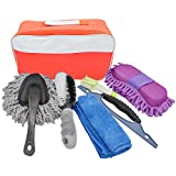 Car Washing Cleanning Tools Kit with Bag-1 X Tire Brush,1 X Wash Sponge,1 X Window Water Scraper,1 X Wash Cloth,1 X Double Head Car Vent Brush and a little duster.