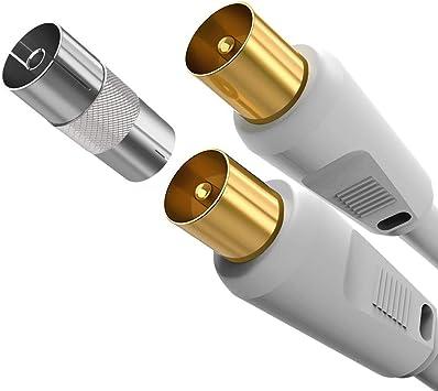 Cable Coaxial de Antena de TV 1M Macho A Macho, Cable de Satélite Antena de TV de RF Cable Coaxial A Conectores Macho Chapados en Oro PAL Volante Blanco para con Acoplador: