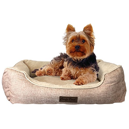 Plush Soft Pet Bed, Dog Bed, Cat Bed, Made of Microfiber That Is Soft and Comfortable, Cleaning Is Easy, 100% Machine Washable, Large, 20″ X 28″ X 8″, Beige, Arrives With a Squeak Dog Chew Toy