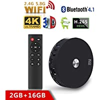 2018 Model Streaming Media Player, SCS ETC R10 Android 7.1 TV Box 2GB RAM 16GB ROM Smart TV Box, Bluetooth 4.1 TV Box Support Daul Channel Wifi 2.4G/5.8G 2T2R Connected 3D 4K HDR Video Playing