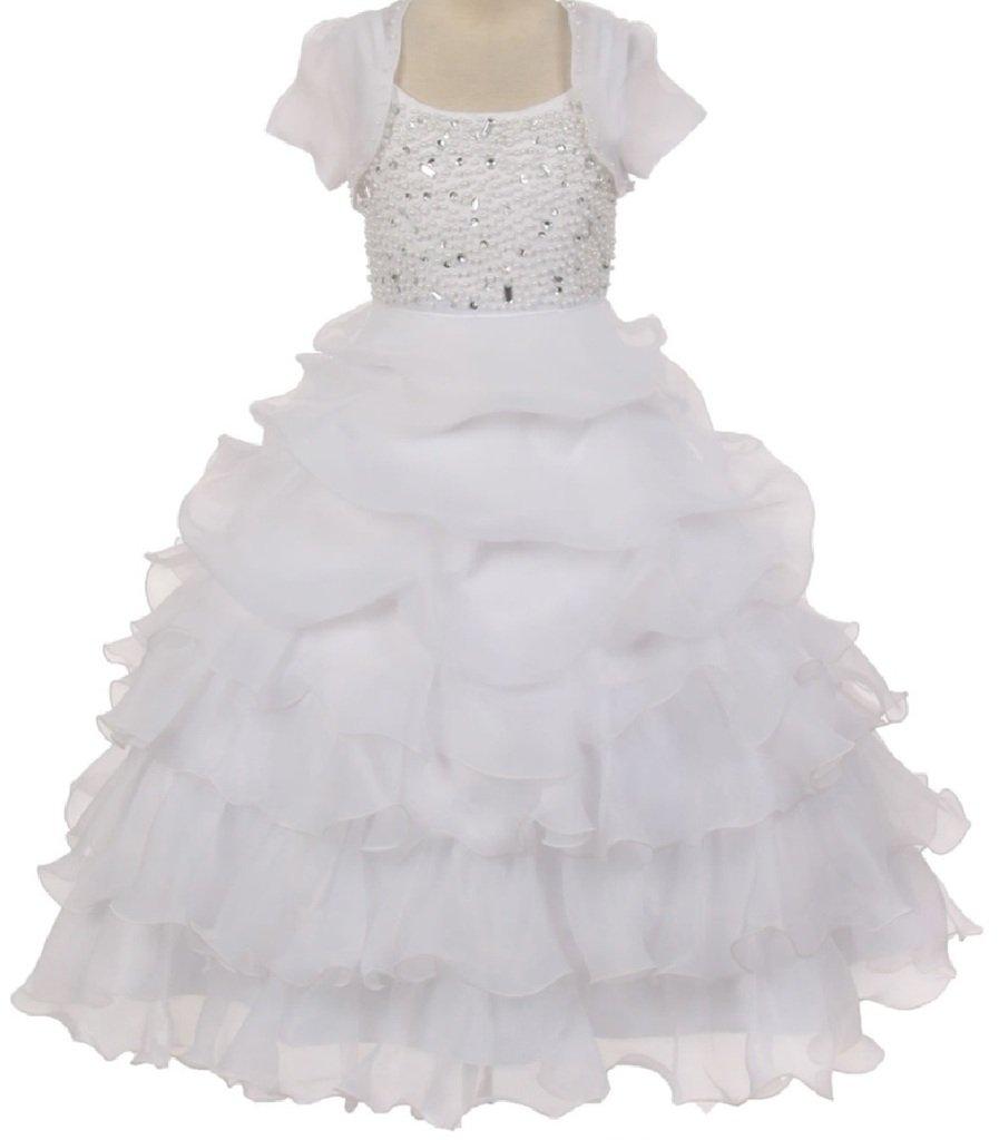 Big Girls' Organza Pick Up Skirt Pageant Flowers Girls Dresses White 12