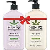 Hempz Vanilla Plum Herbal Body Moisturizer (17 fl oz) and Age Defying Herbal Body Moisturizer (17 fl oz) Bundle