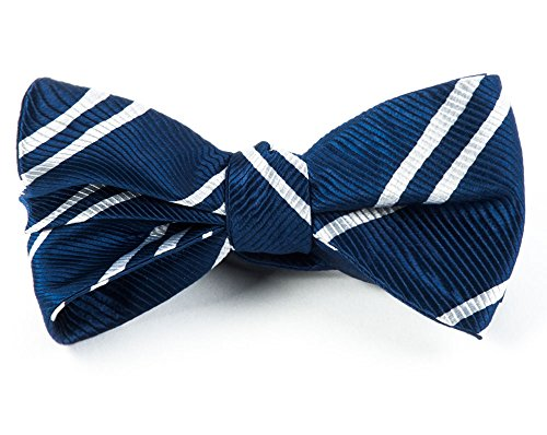 (The Tie Bar 100% Woven Silk Navy Blue Double Striped Self- Tie Bow Tie)