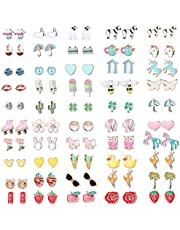 Hanpabum 50 Pairs Hypoallergenic Earrings for Kids Flower Animals Trees Ice Cream Colorful Cute Stainless Steel Stud Earrings Set Girls Jewelry
