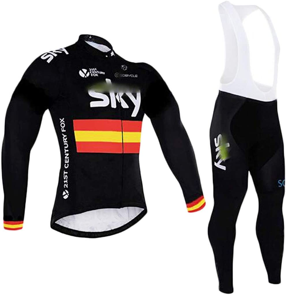 YSYFZ Outdoor sports long-sleeved Jersey Autumn and winter long-sleeved shirt lace-up trousers Moisture absorption Perspiration Quick-drying Cycling suit