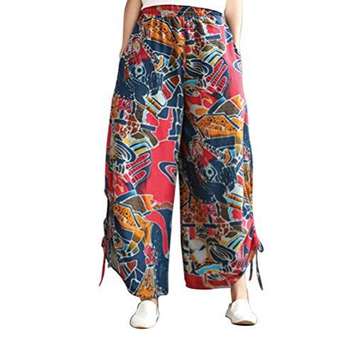 Taille Zhhlinyuan en Trouser Lanterne Confortable Pantalon Lin Rouge t Coton Unisexe Baggy Harem Pantalon Vrac Jaune Elastique SXSqvr