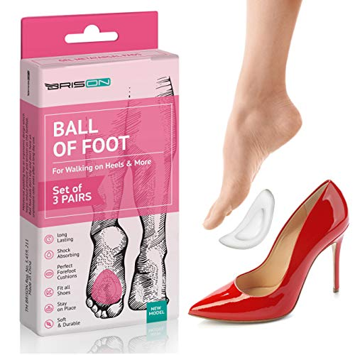 Ball of Foot Cushion for Women High Heel - 3 Pairs (6 Pieces) - Soft Gel Insoles Metatarsal Pad Shoe Insert - Mortons Neuroma Callus Metatarsal Foot Pain Relief Bunion Forefoot Cushioning