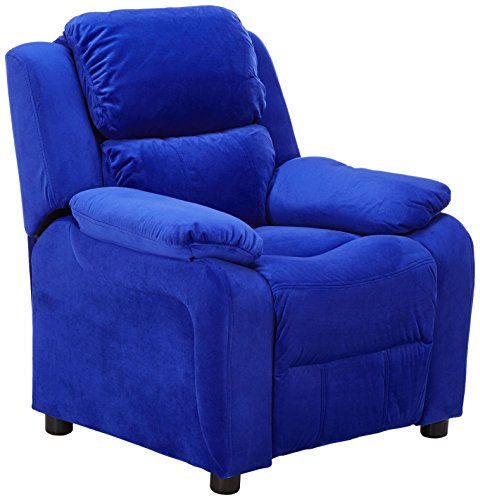 Flash Furniture Deluxe Padded Contemporary Blue Microfiber Kids Recliner with Storage Arms ()