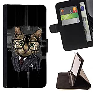 BETTY - FOR Sony Xperia Z3 D6603 - Office Business Glasses Cat - Style PU Leather Case Wallet Flip Stand Flap Closure Cover