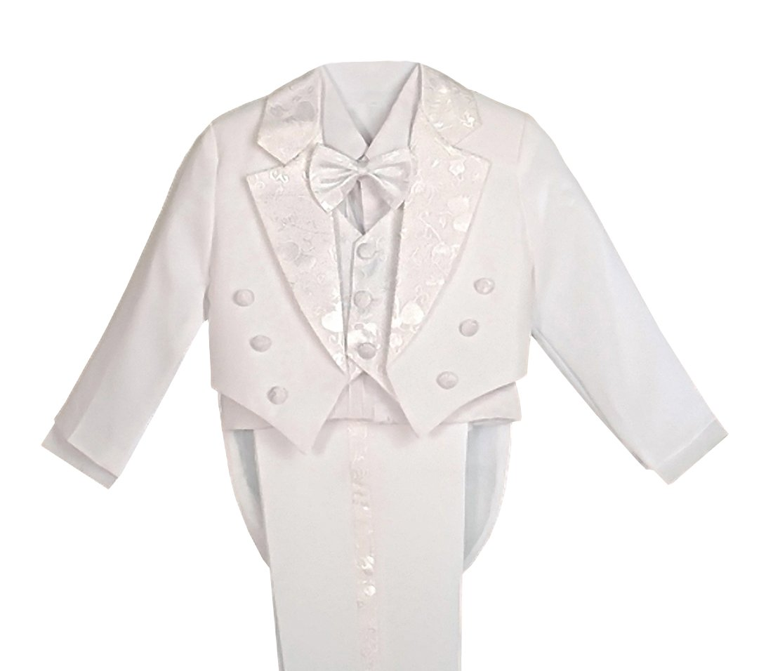 Dressy Daisy Boys' Classic Fit Tuxedo Suit with Tail 5 Pcs Set Formal Suits Wedding Outfit 011