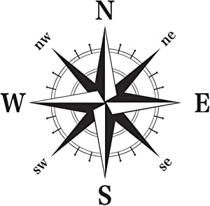 decalmile Nautical Compass Wall Decals Peel and Stick Removable Wall Stickers Decor for Living Room Bedroom (Black) 22 x 22 Inches