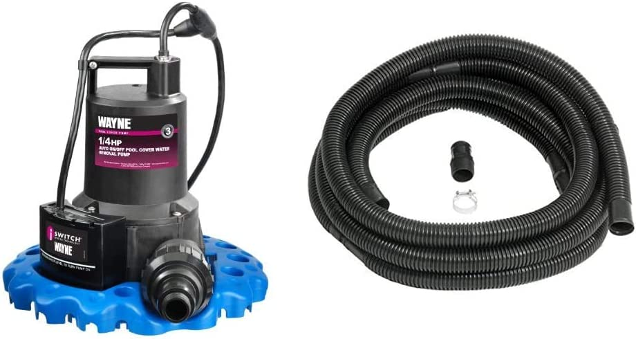 Wayne 57729-WYNP WAPC250 Pool Cover Pump & 56171 1.25 In. Sump Pump Discharge 24 ft. Hose Kit With Clamps