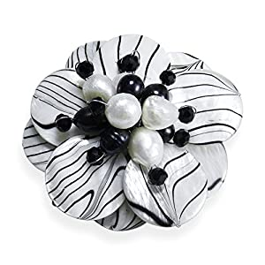 AeraVida Zebra Mother of Pearl Painted and Cultured Freshwater Pearl Floral Pin or Brooch
