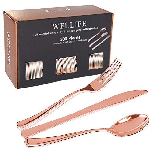 300 Pieces Rose Gold Plastic Cutlery Premium Quality Disposable Plastic Silverware Polished,100Knives,100Forks, 100Spoons Heavy Duty Flatware for Weddings,Parties