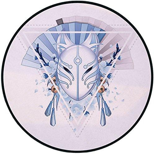 Printing Round Rug,Kabuki Mask Decoration,Fox Mask Kitsune Japan Culture Triangle Sakura Flowers Decorative Mat Non-Slip Soft Entrance Mat Door Floor Rug Area Rug For Chair Living Room,Light Blue Whit