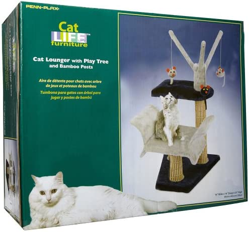 Cat Lounger with Play Tree and Bamboo Post, Navy Gray – 16 x 16 x 23 Inches WxDxH