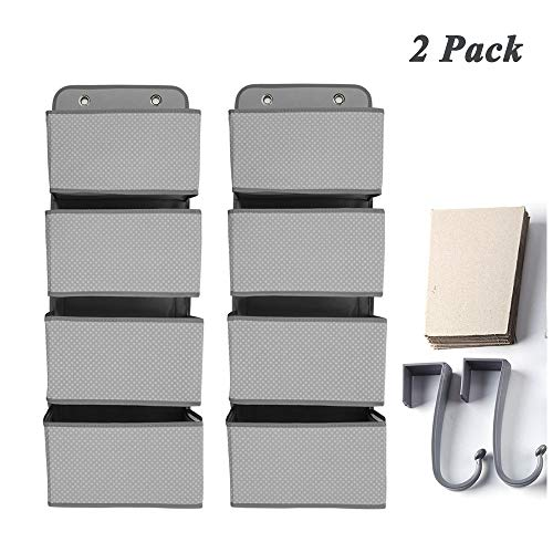 YEAKOO Over The Door Organizer 4 Pocket, 2 Pack Wall Mount Hanging Storage Bags for Pantry Baby Nursery Bathroom Closet Dorm (Grey)
