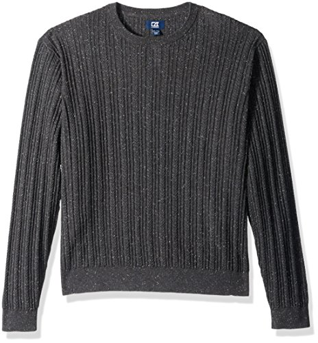 Cutter & Buck Men's Long Sleeve Carlton Cable Knit Crewneck Sweater, Charcoal Grey, X-Large (Crewneck Cable Mens)
