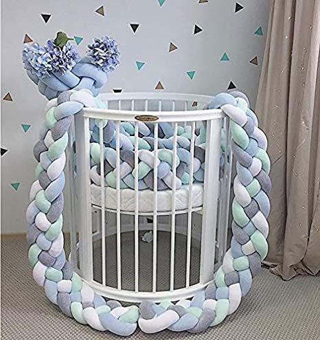 Green ZQ Children Bedside Crib 4 Braided 86.6inch 220cm Baby Bumper Nesting Edge Protector Head Crib cot Pillow Length Decorations for notted for Newborns Bed Sleep