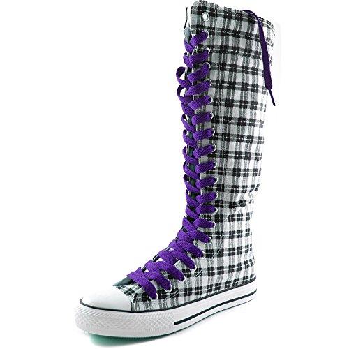 Dailyshoes Dames Canvas Mid Kalf Lange Laarzen Casual Sneaker Punk Flat, Grijs Wht Geruite Laarzen, Smokey Paars Kant