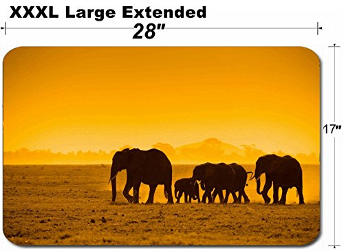 - MSD Large Table Mat Non-Slip Natural Rubber Desk Pads Silhouettes of Elephants amboseli National Park Kenya Image 5380911 Customized Tablemat