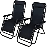 Cheap Patio Lounge Beach Outdoor Folding Recliner Chair Zero Gravity Pool 2 Chairs Reclining Chaise Yard Tray Utility Lawn 2pc