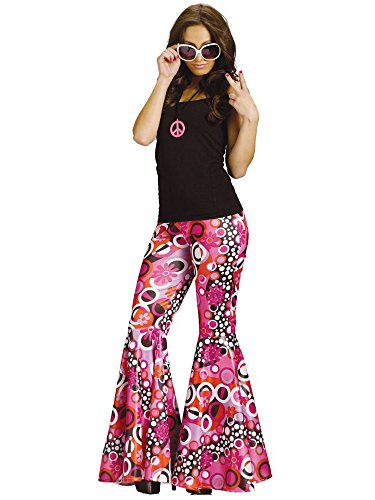 [Flower Child Bell Bottoms Adult Costume Groovy Pink - Medium/Large] (Go Go Dancer Halloween Costumes Women)
