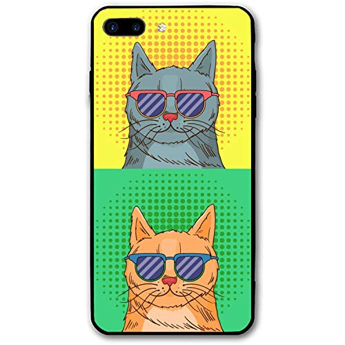 iPhone 7/8 Plus Case Ultra-Thin Shockproof Rubber Cover Compatible for iPhone 7/8 Plus Glasses Cat Pop ()