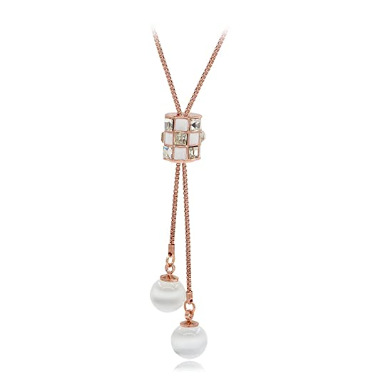 Kemstone Rose Gold Opal Crystals Accent Pendant Necklace for Women, 17