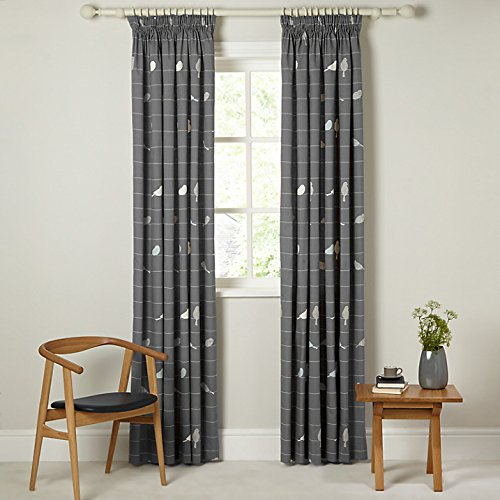 John Lewis Bird on a Wire Lined Pencil Pleat Curtains, Steel ...