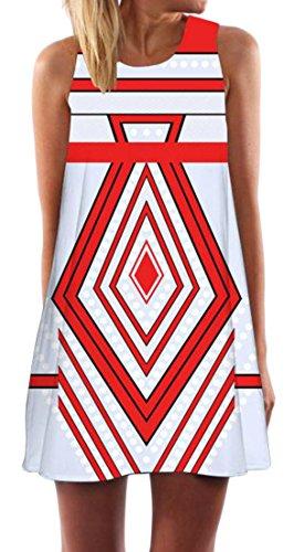 Cromoncent Womens Sans Manches Imprimé Ethnique D'une Ligne Mini Robe Réservoir 4 Sundress