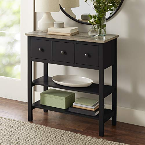 - Black Console Table Rustic Top Entryway Furniture Display Storage Shelves Drawers Side Sofa Table Telephone Stand Hallway Home Office Living Room
