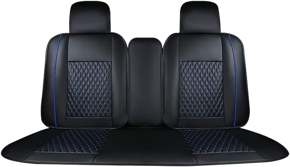Waterproof Anti-Slip for Most Car Seat Cover(Black//White Line) AUTOPDR Universal 5 Seat Leather Fits Full Protection Car Seat Cover Front /& Rear for Summer Seat Cushions