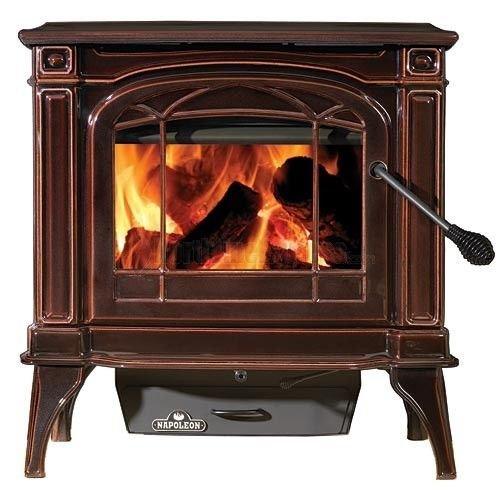 Napoleon Wood (Napoleon Fireplaces Cast Iron 55K Wood Burning Stove - Porcelain Enamel Majolica Brown)