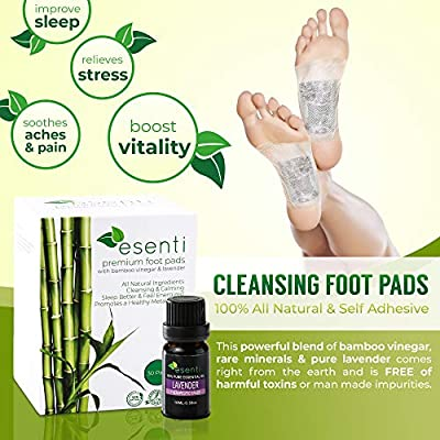 Foot Pads & Lavender Essential Oil | 100% All Natural Self Adhesive Cleansing Foot Pads | Relieve Stress & Improve Sleep | for Pain Relief & Foot Odor | 30 Pads | FDA Certified | Full Body Cleanse