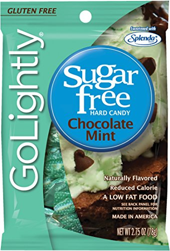 GoLightly Sugar Free Hard Candy, Chocolate Mint, 2.75 Ounce Bag (Pack of 12)